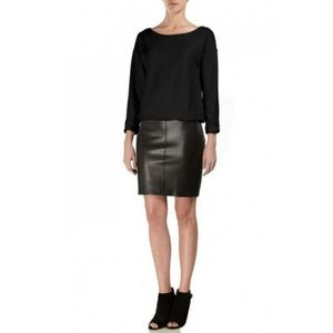 Bailey 44 Sweatshirt Dress with Leather Skirt